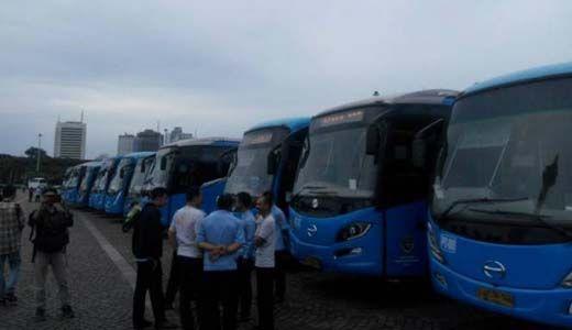 Bus Milik Kemenhub Pulangkan Peserta Aksi 2-12 dari Jakarta ke Pekanbaru