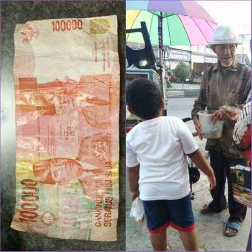 Kasihan Kakek di Rohul Ini, Ada Orang yang Tega Beli Donatnya Pakai Uang Kertas Mainan Pecahan Rp100 Ribu