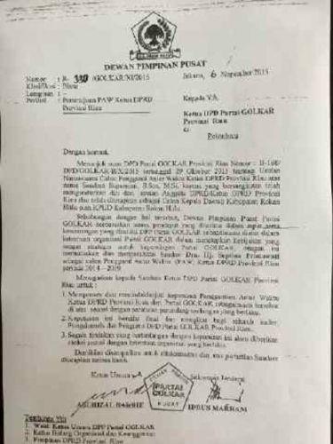 Inilah Penampakan Surat DPP Golkar Menunjuk Septina Menjadi Ketua DPRD Riau, Andi Rachman: Saya Belum Tahu...