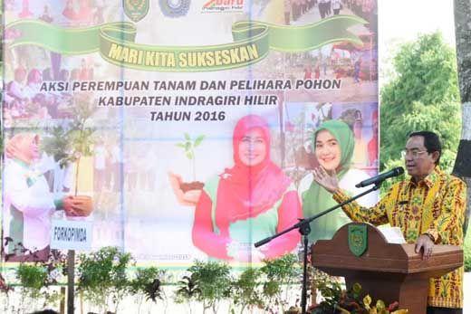 Bupati HM Wardan Hadir di Tengah-tengah Perempuan TP PKK Inhil, Gelar Aksi Tanam dan Pelihara Pohon di Jalan Swarna Bumi