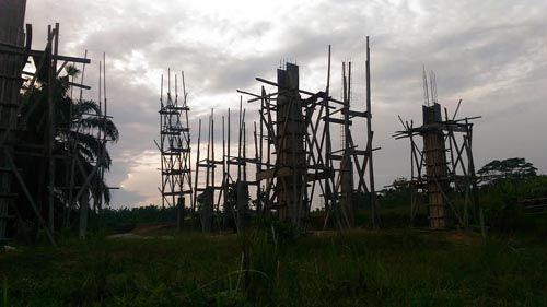 Habiskan Anggaran Desa Rp190 Juta Lebih, Proyek Gedung Gelanggang Olahraga Kampung Sri Gading Lubukdalam Kabupaten Siak Terbengkalai