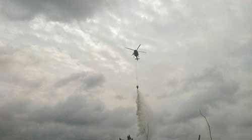 Helikopter Dikerahkan Padamkan Kebakaran Dekat Suaka Margasatwa Kecamatan Kerumutan Pelalawan