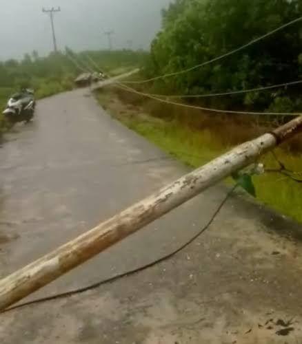 Tiang Listrik di Desa Tanjungpisang Kepulauan Meranti Tumbang Melintang Jalan, Sepeda Motor yang Lewat Terpaksa Diangkat