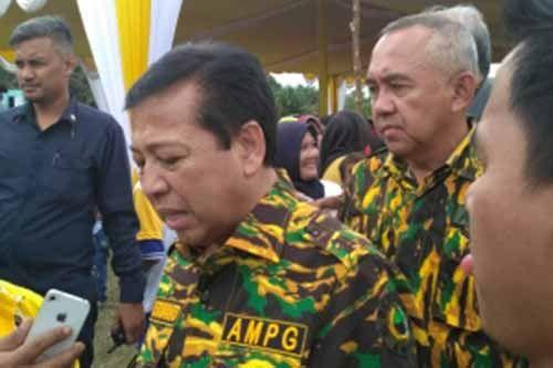 Setya Novanto Buru-buru Tinggalkan Lokasi Jambore AMPG Riau di Kawasan Candi Muara Takus Kampar