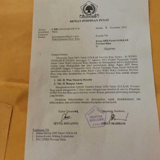 Surat DPP Partai Golkar tentang Rekomendasi Calon Wakil Gubernur Riau Sudah Sepekan Lebih Diteken Setya Novanto