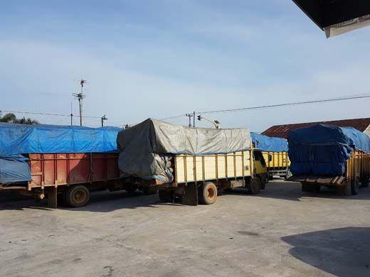 Enam Truk Bermuatan Kayu Diduga Hasil <i>Illegal Logging</i> Diamankan Polisi di Jalan Lintas Pasirputih Kampar, 4 Sopir Melarikan Diri