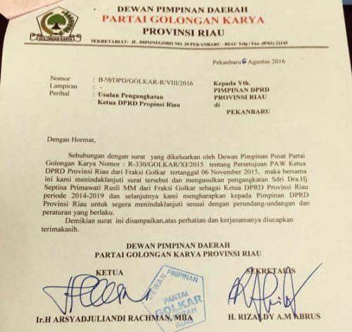 "Polemik Penetapan Ketua DPRD Riau Antiklimaks, Andi Rachman ""Menyerah"" dan Teken SK Usulan Pengangkatan Septina RZ"