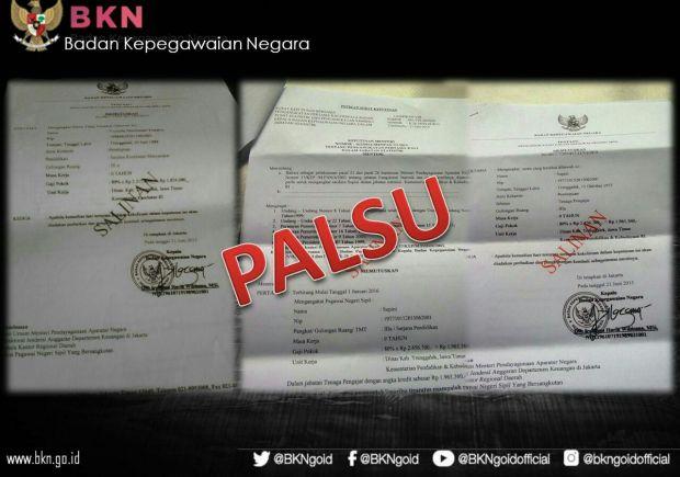 Awas, SK Palsu Pengangkatan CPNS Catut Kepala BKN Banyak Beredar
