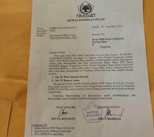Idris Laena Bilang Surat DPP soal Calon Wagub Riau Bukan untuk Arsyadjuliandi Rachman tapi Ditujukan kepada Pengurus DPD Partai Golkar Riau