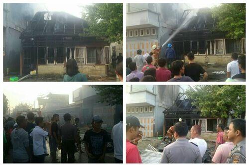 Televisi Meledak Sebabkan 2 Rumah Kontrakan Agus Warga Kelurahan Balikalam Mandau Bengkalis Terbakar