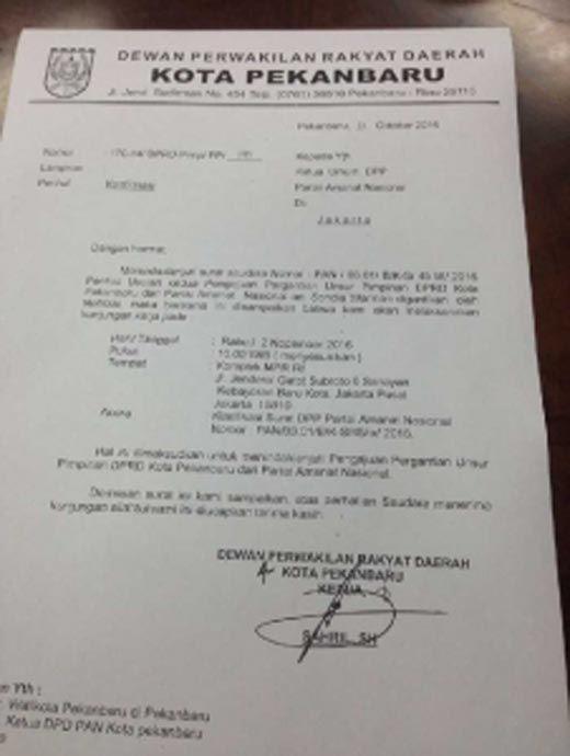 """Geli! Untuk Bahas PAW Pimpinan Dewan dari PAN, Ketua DPRD Pekanbaru Bukan Datang ke DPP PAN tapi Minta Bertemu di Gedung MPR dengan Embel-embel """"Kunjungan Kerja"""""""