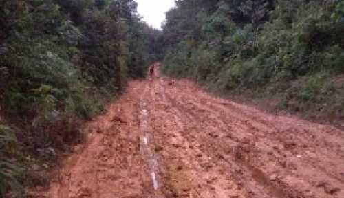 Sepanjang 4 Km Jalan Poros Desa Tanjungairhitam Menuju Ibu Kota Kecamatan Kerumutan di Pelalawan Hancur Total