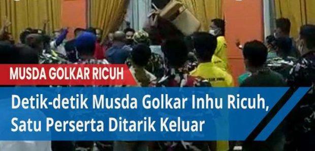 Musda Partai Golkar Inhu Ricuh, Antarpeserta Nyaris Bakuhantam, Utusan DPD I Tinggalkan Ruangan