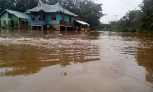 Banjir di Kecamatan Ukui Pelalawan, Jalan Menuju Desa Lubukkembangbunga Putus Total